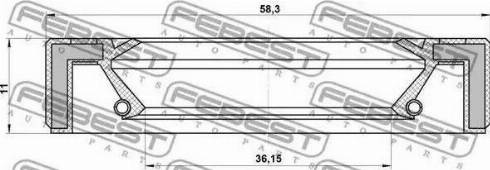 Febest 95GAY38581111L - Уплотнительное кольцо вала, приводной вал sparts.com.ua