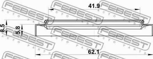 Febest 95GDY44560709X - Уплотнительное кольцо вала, приводной вал sparts.com.ua