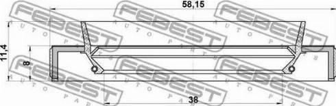 Febest 95HBY40580811R - Уплотнительное кольцо вала, приводной вал sparts.com.ua
