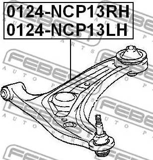 Febest 0124-NCP13LH - Рычаг независимой подвески колеса sparts.com.ua