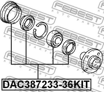 Febest DAC387233-36KIT - Комплект подшипника ступицы колеса sparts.com.ua