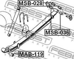 Febest MSB028 - Втулка, листовая рессора sparts.com.ua