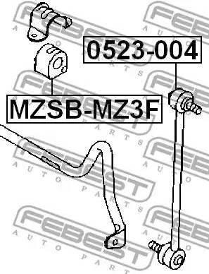 Febest MZSB-MZ3F - Втулка стабилизатора, нижний сайлентблок sparts.com.ua