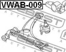 Febest VWAB-009 - Сайлентблок, рычаг подвески колеса sparts.com.ua