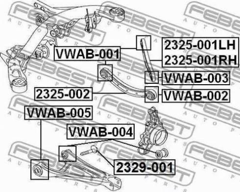 Febest VWAB-005 - Сайлентблок, рычаг подвески колеса sparts.com.ua