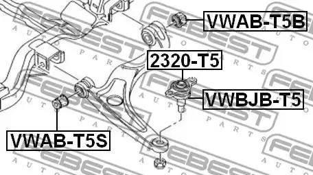 Febest VWAB-T5B - Сайлентблок, рычаг подвески колеса sparts.com.ua