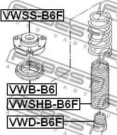 Febest VWB-B6 - Подшипник качения, опора стойки амортизатора sparts.com.ua