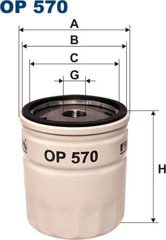 Filtron OP 570T - Масляный фильтр sparts.com.ua