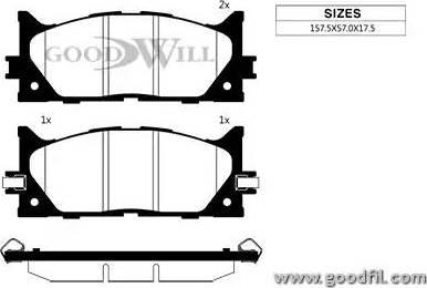 GoodWill 1091 F - Тормозные колодки, дисковые sparts.com.ua