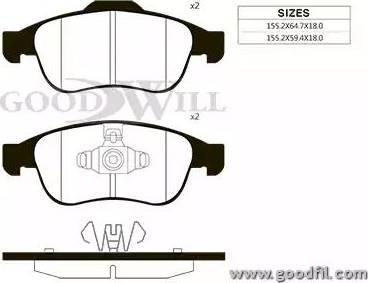 GoodWill 1083 F - Тормозные колодки, дисковые sparts.com.ua