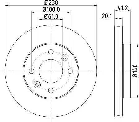 HELLA 8DD 355 101-261 - Тормозной диск sparts.com.ua