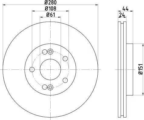 HELLA 8DD 355 108-631 - Тормозной диск sparts.com.ua