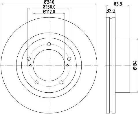 HELLA 8DD 355 116-551 - Тормозной диск sparts.com.ua