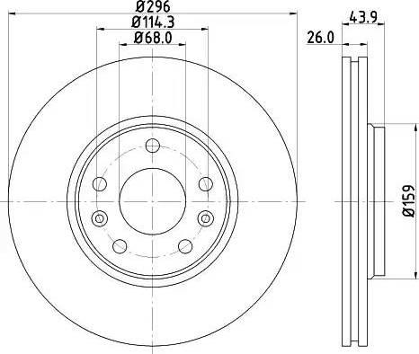 HELLA 8DD 355 116-161 - Тормозной диск sparts.com.ua