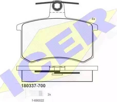 Icer 180337-700 - Тормозные колодки, дисковые sparts.com.ua