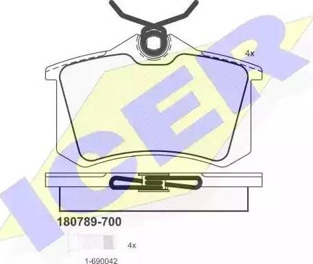Icer 180789-700 - Тормозные колодки, дисковые sparts.com.ua