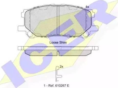 Icer 181584 - Тормозные колодки, дисковые sparts.com.ua