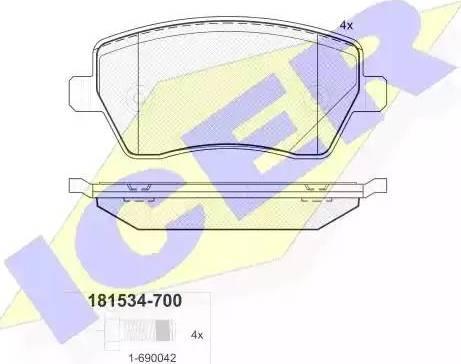 Icer 181534-700 - Тормозные колодки, дисковые sparts.com.ua