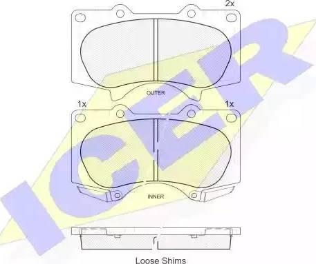 Icer 181665 - Тормозные колодки, дисковые sparts.com.ua