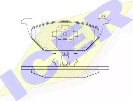 Icer 181184 - Тормозные колодки, дисковые sparts.com.ua