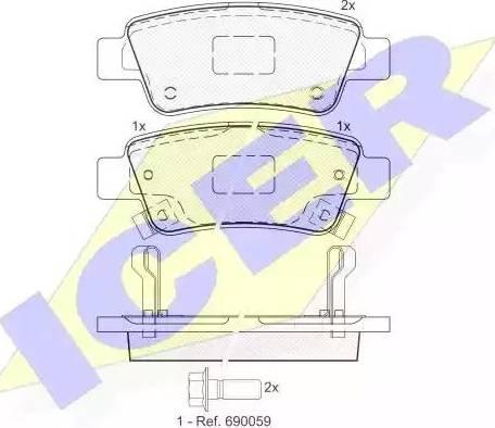 Icer 181888 - Тормозные колодки, дисковые sparts.com.ua