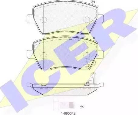 Icer 181748 - Тормозные колодки, дисковые sparts.com.ua