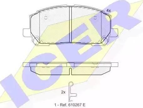 Icer 181705 - Тормозные колодки, дисковые sparts.com.ua