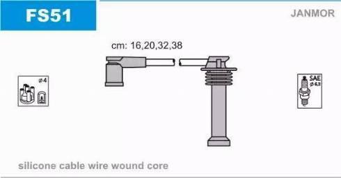Janmor FS51 - Комплект проводов зажигания sparts.com.ua