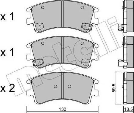 Metelli 22-0476-0 - Тормозные колодки, дисковые sparts.com.ua