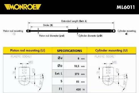 Monroe ML6011 - Газовая пружина, капот sparts.com.ua