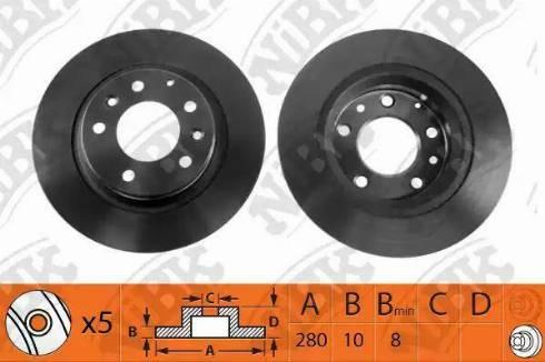 NiBK RN1208 - Тормозной диск sparts.com.ua