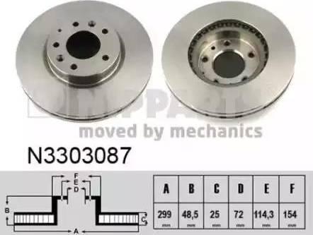 Nipparts N3303087 - Тормозной диск sparts.com.ua