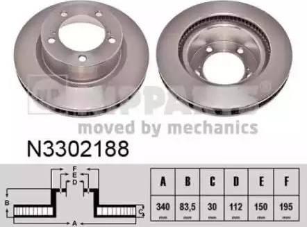 Nipparts N3302188 - Тормозной диск sparts.com.ua
