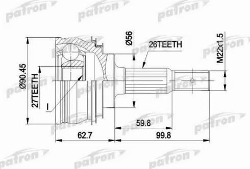 Patron PCV1207 - Шарнирный комплект, ШРУС, приводной вал sparts.com.ua