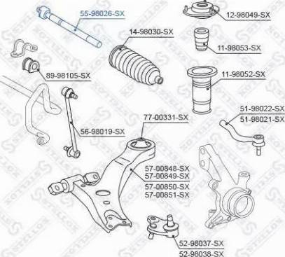 Stellox 55-98026-SX - Осевой шарнир, рулевая тяга sparts.com.ua