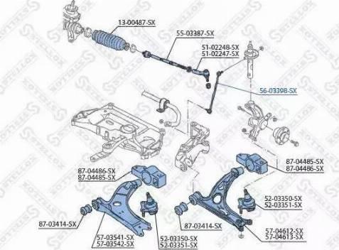 Stellox 56-03398-SX - Тяга / стойка, стабилизатор sparts.com.ua