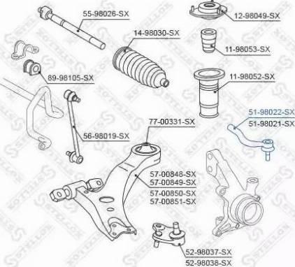 Stellox 51-98022-SX - Наконечник рулевой тяги, шарнир sparts.com.ua