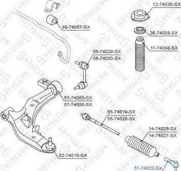 Stellox 51-74022-SX - Наконечник рулевой тяги, шарнир sparts.com.ua