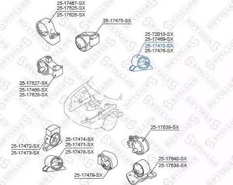 Stellox 25-17470-SX - Подушка, подвеска двигателя sparts.com.ua