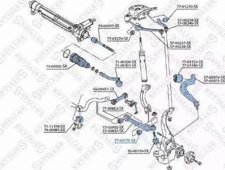 Stellox 77-00175-SX - Сайлентблок, рычаг подвески колеса sparts.com.ua