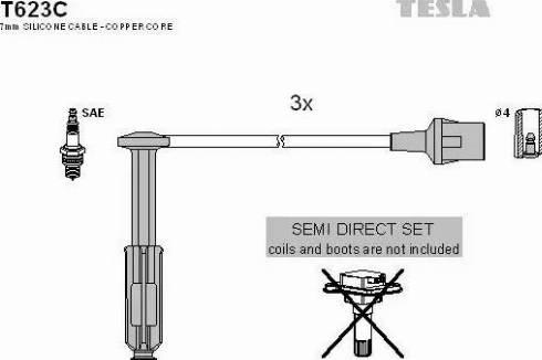 TESLA T623C - Комплект проводов зажигания sparts.com.ua