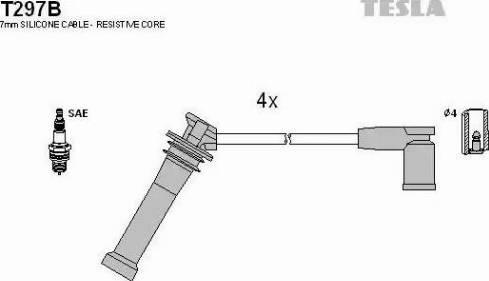 TESLA T297B - Комплект проводов зажигания sparts.com.ua