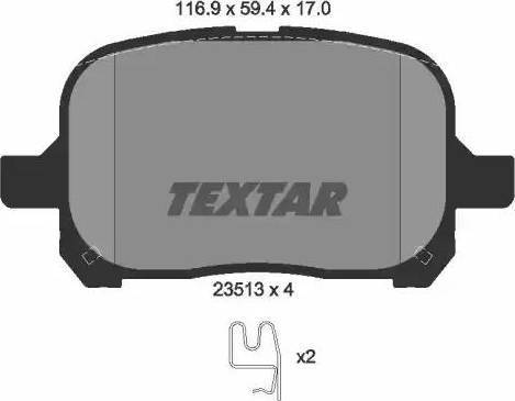 Textar 2351302 - Тормозные колодки, дисковые sparts.com.ua