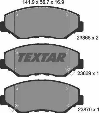 Textar 2386801 - Тормозные колодки, дисковые sparts.com.ua