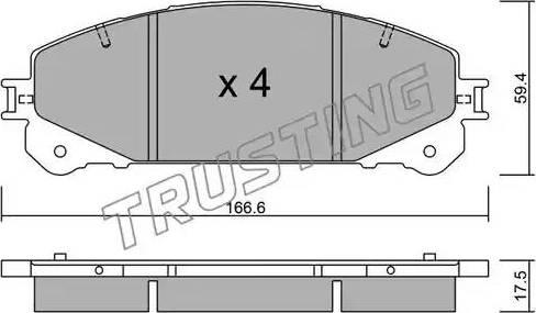 Trusting 954.0 - Тормозные колодки, дисковые sparts.com.ua