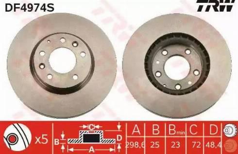 TRW DF4974S - Тормозной диск sparts.com.ua