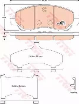 TRW GDB4142 - Тормозные колодки, дисковые sparts.com.ua