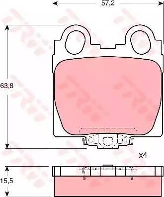 TRW GDB3233 - Тормозные колодки, дисковые sparts.com.ua
