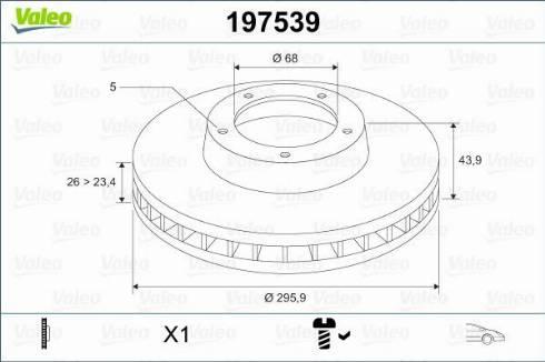 Valeo 197539 - Тормозной диск sparts.com.ua