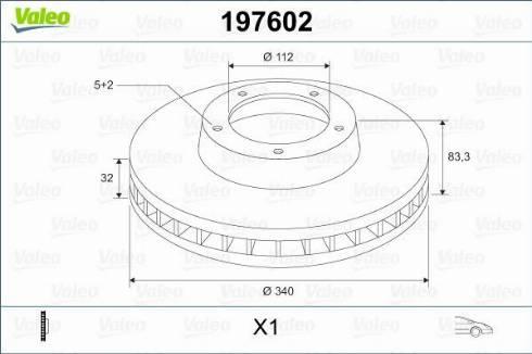 Valeo 197602 - Тормозной диск sparts.com.ua